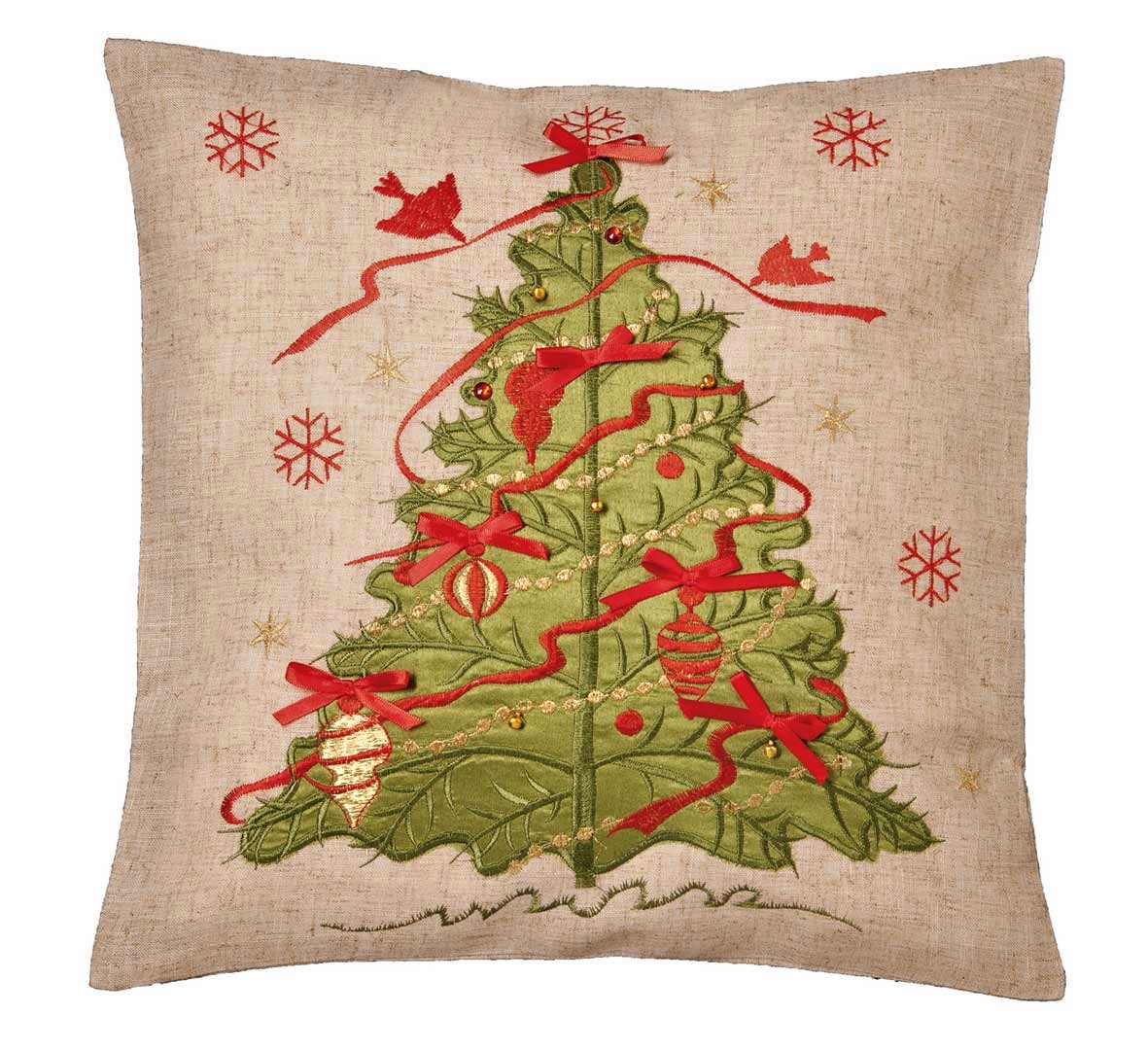 Tree And Ribbon Applique Cushion Cover 43x43cm 16x16