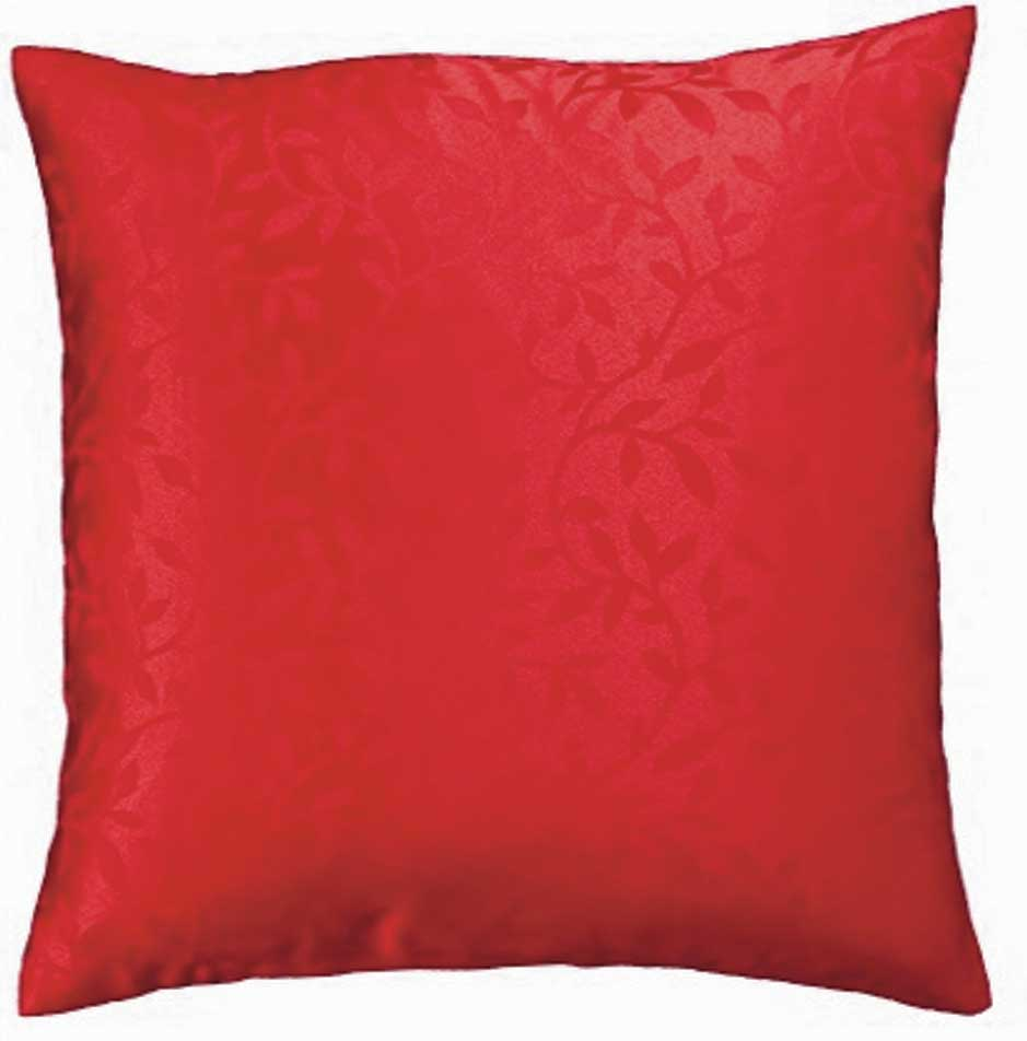 Bowdon Small Leaf Jacquard Cushion Cover Red 42x42cm