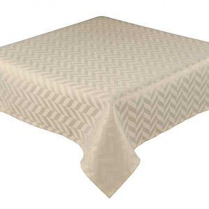 Cream round jacquard tablecloth