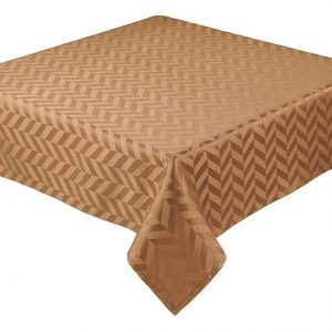 Coffee square jacquard tablecloth with chevron design
