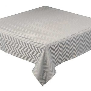 Silver round jacquard tablecloth