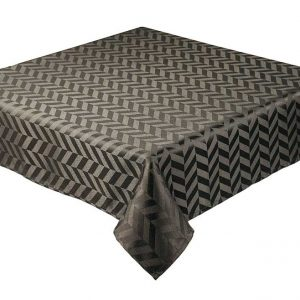 Black round jacquard tablecloth