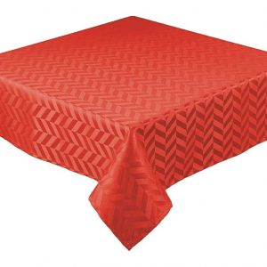 Red round jacquard tablecloth
