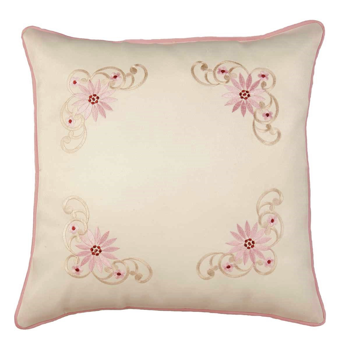Monica Embroidered Daisy Cushion Cover Pink Cream
