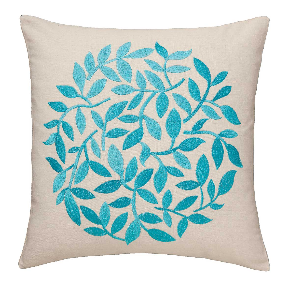 Topiary Embroidered Leaf Cushion Cover Teal 43x43cm