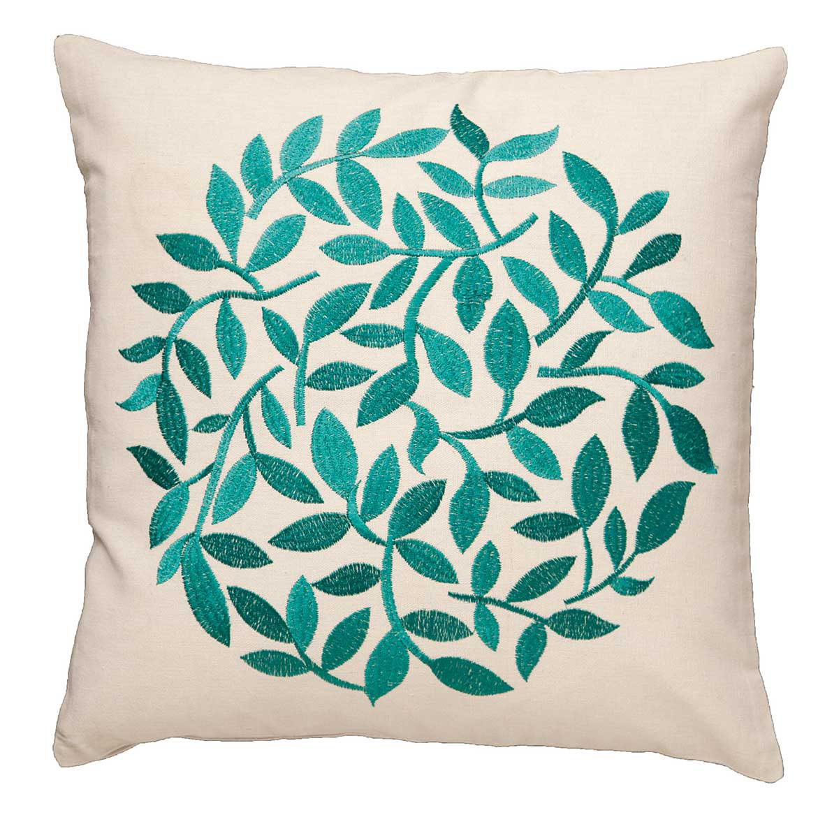 Topiary embroidered leaf cushion cover emerald cm