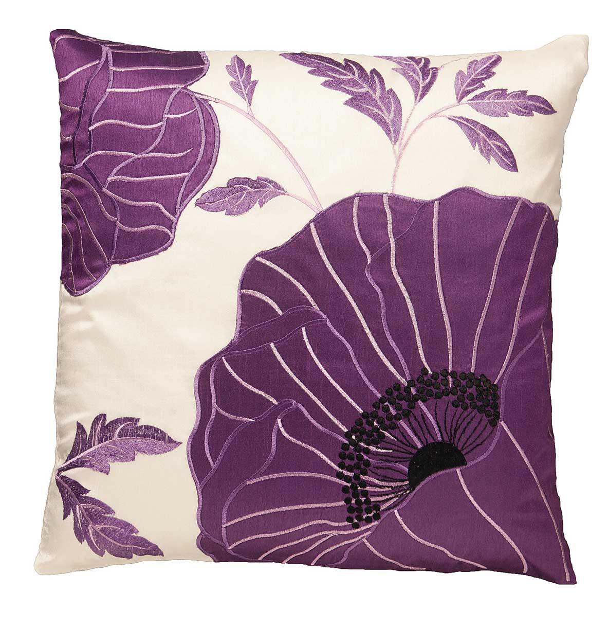 Chelsea Flower Head Cushion Cover Purple Cream 43x43cm
