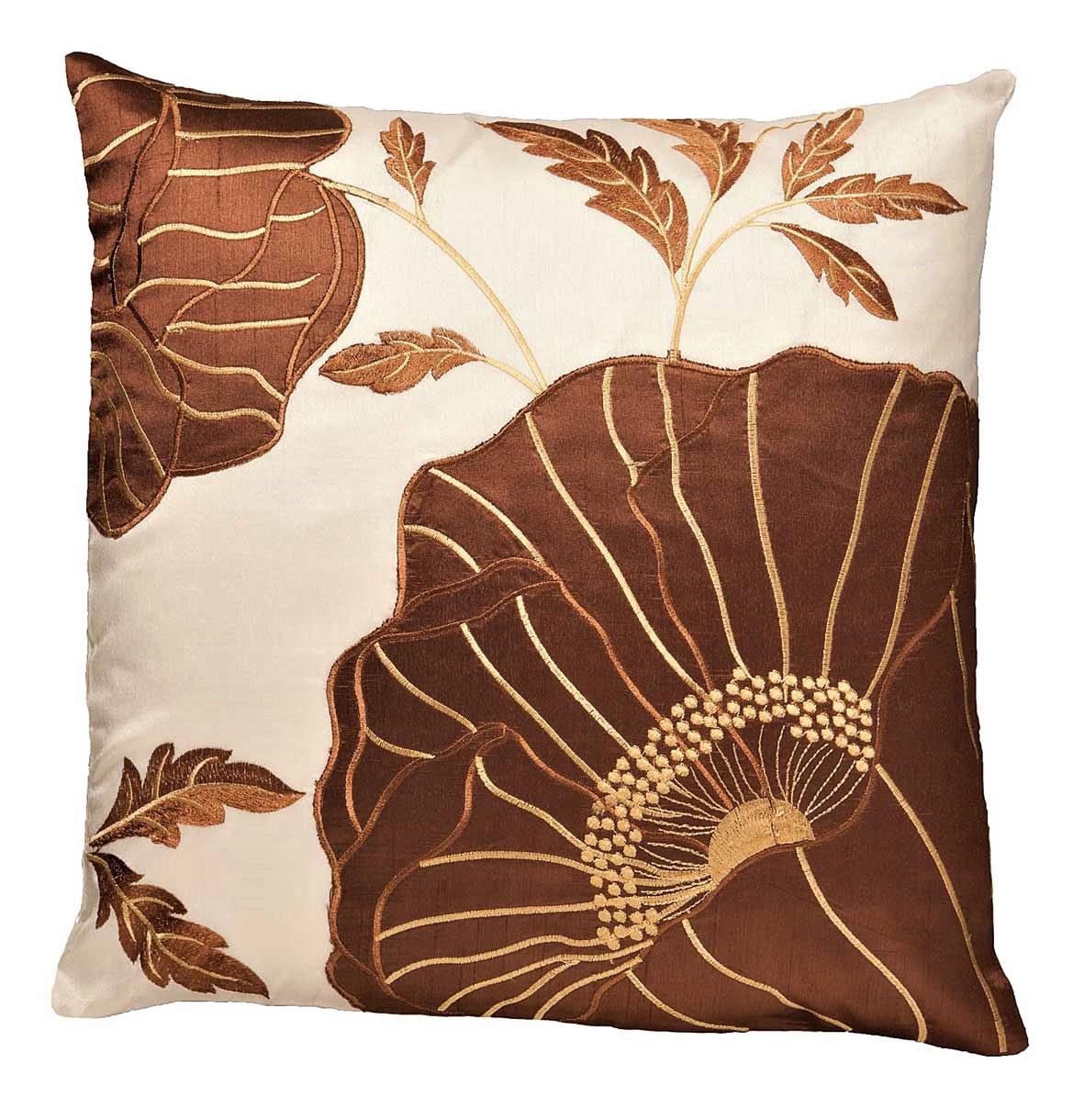 Chelsea Flower Head Cushion Cover Coffee Cream 43x43cm