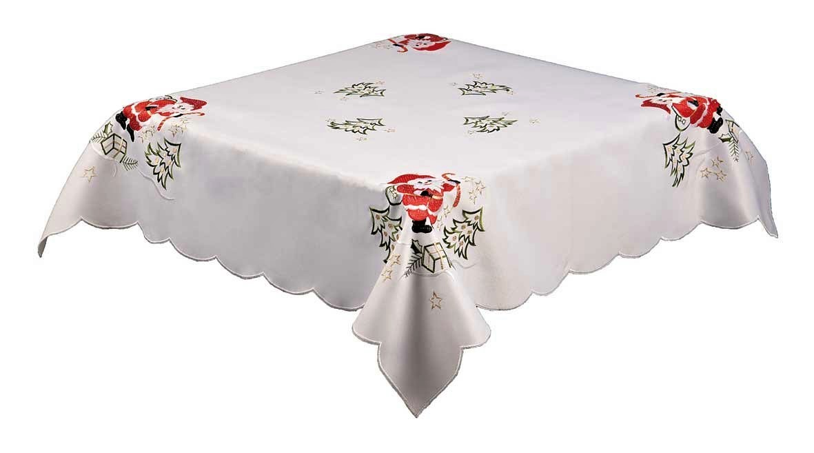 Santa And Trees White Embroidered Christmas Tablecloth 85x85cm