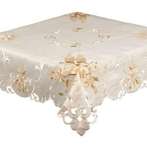 Golden candle Christmas tablecloth