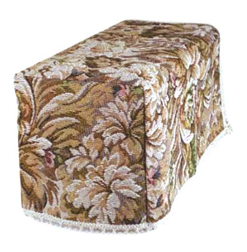 Castle tapestry chair arm covers in a brown and beige castle design