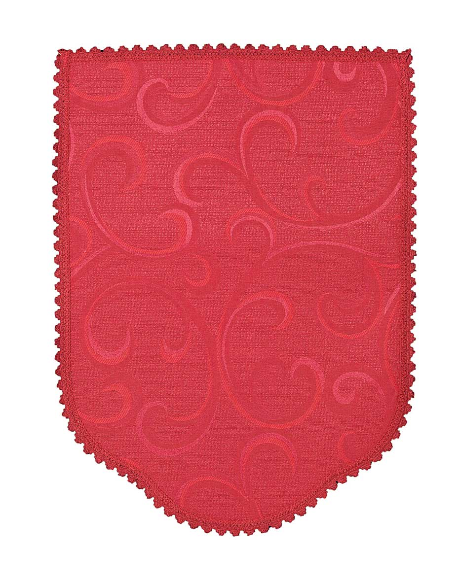 Scroll burgundy chair back covers with a vine scroll design