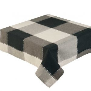 "Republic Black Check Round 52"" Tablecloth"