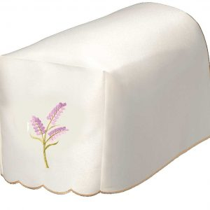 Lavender sprig embroidered chair arm covers