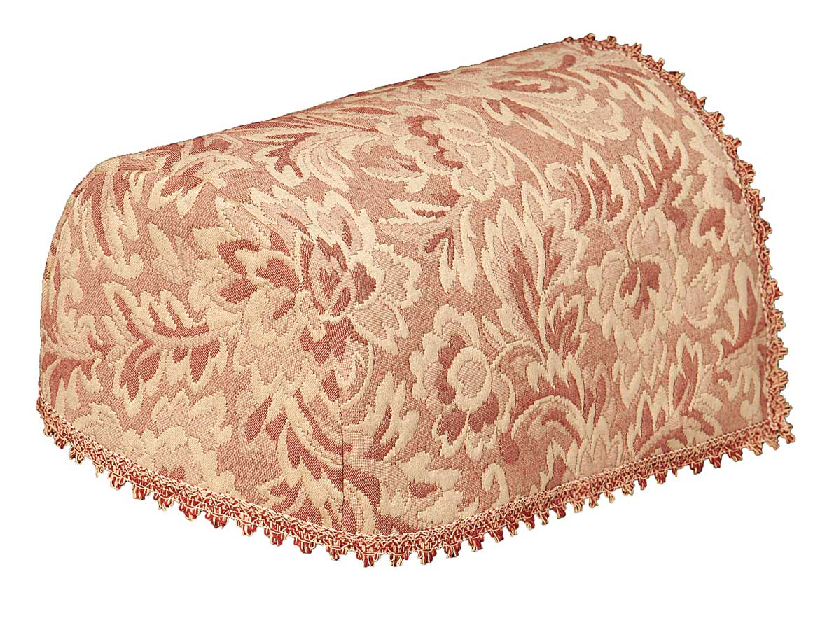 Matelasse woven leaf chair arm covers pink / red