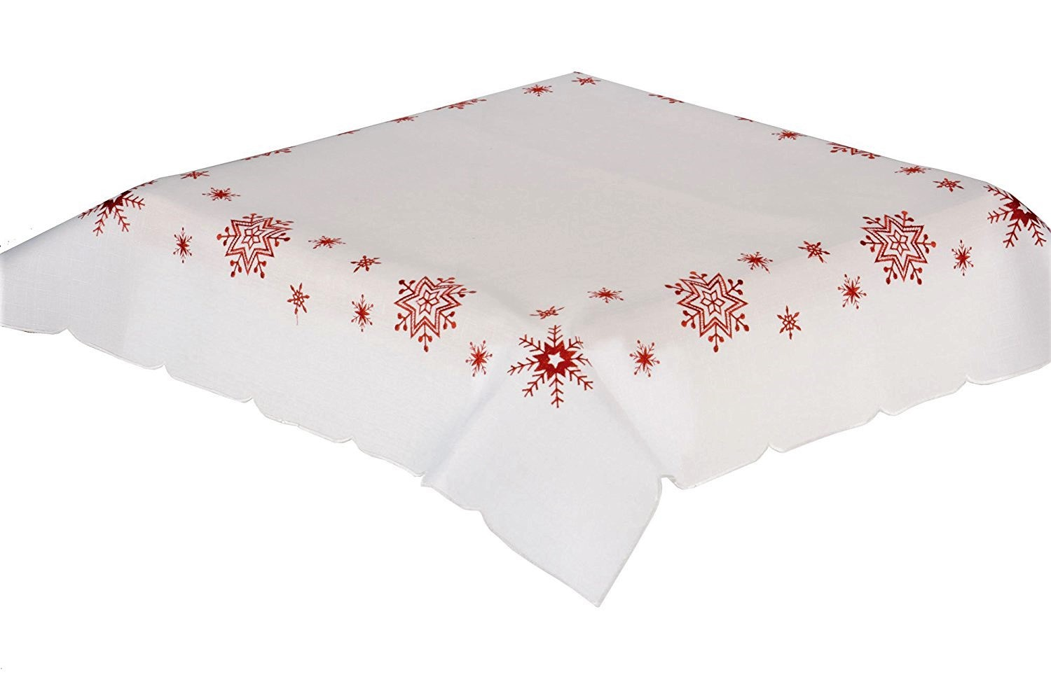 Red Snowflake Embroidered Red Snowflakes On White