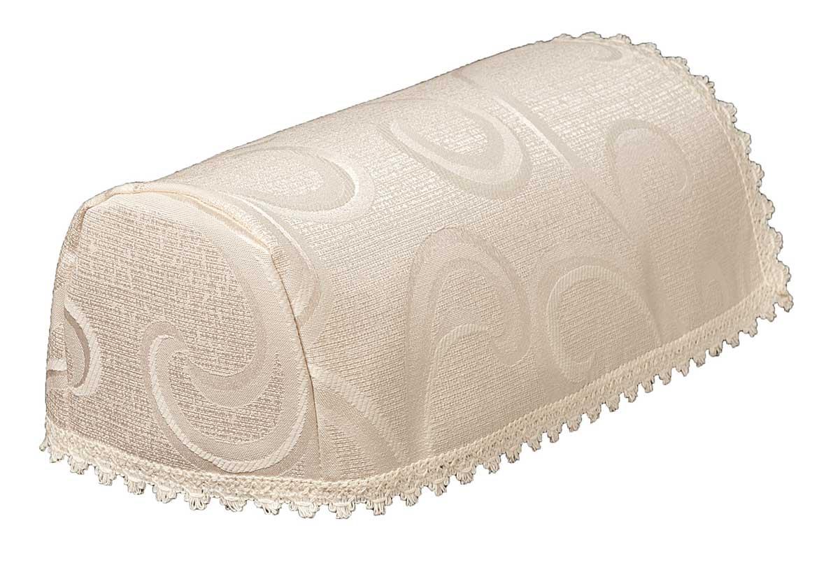 Scroll cream narrow chair arm covers in a vine design