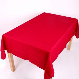 red polyester tablecloth