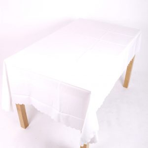 white polyester tablecloth