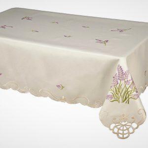 Lavender sprig embroidered tablecloth