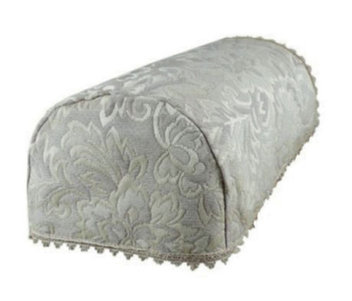 Matelasse woven leaf chair arm covers taupe