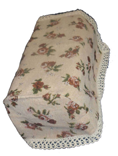 Rosie tapestry chair arm covers (pairs) with brown rose tapestry finished with a 2.5cm cotton lace trim