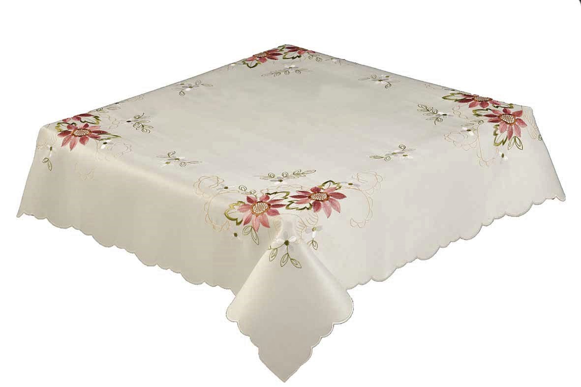 Chloe embroidered flowers scalloped tablecloth pink