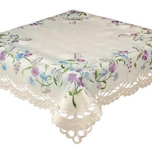 Embroidered lilac blue tablecloth