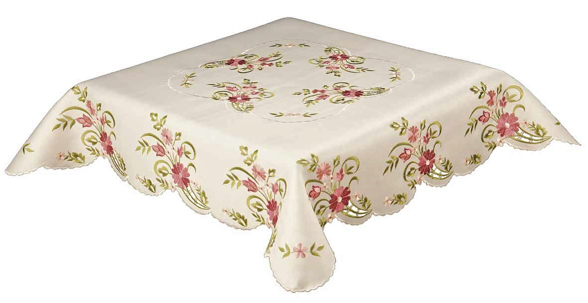 Tilly embroidered pink dusky floral ivory tablecloth