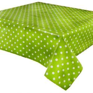 Lime green polka dot vinyl tablecloth