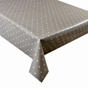 beige polka dot vinyl tablecloth