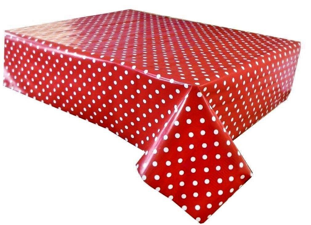 Red polka dot vinyl tablecloth