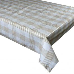 Light brown check vinyl tablecloth