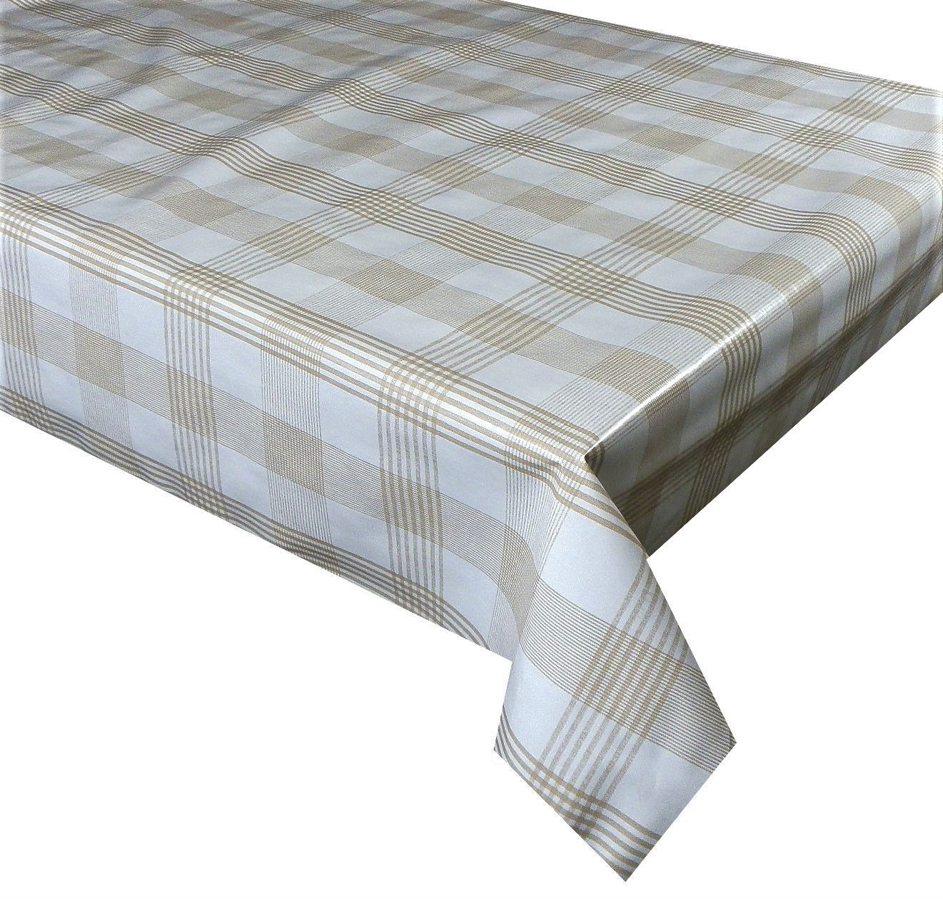 Light brown check vinyl tablecloth