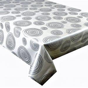 Silver swirls vinyl tablecloth