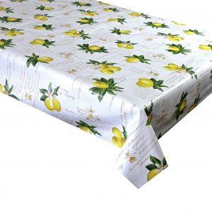 Lemon script vinyl tablecloth