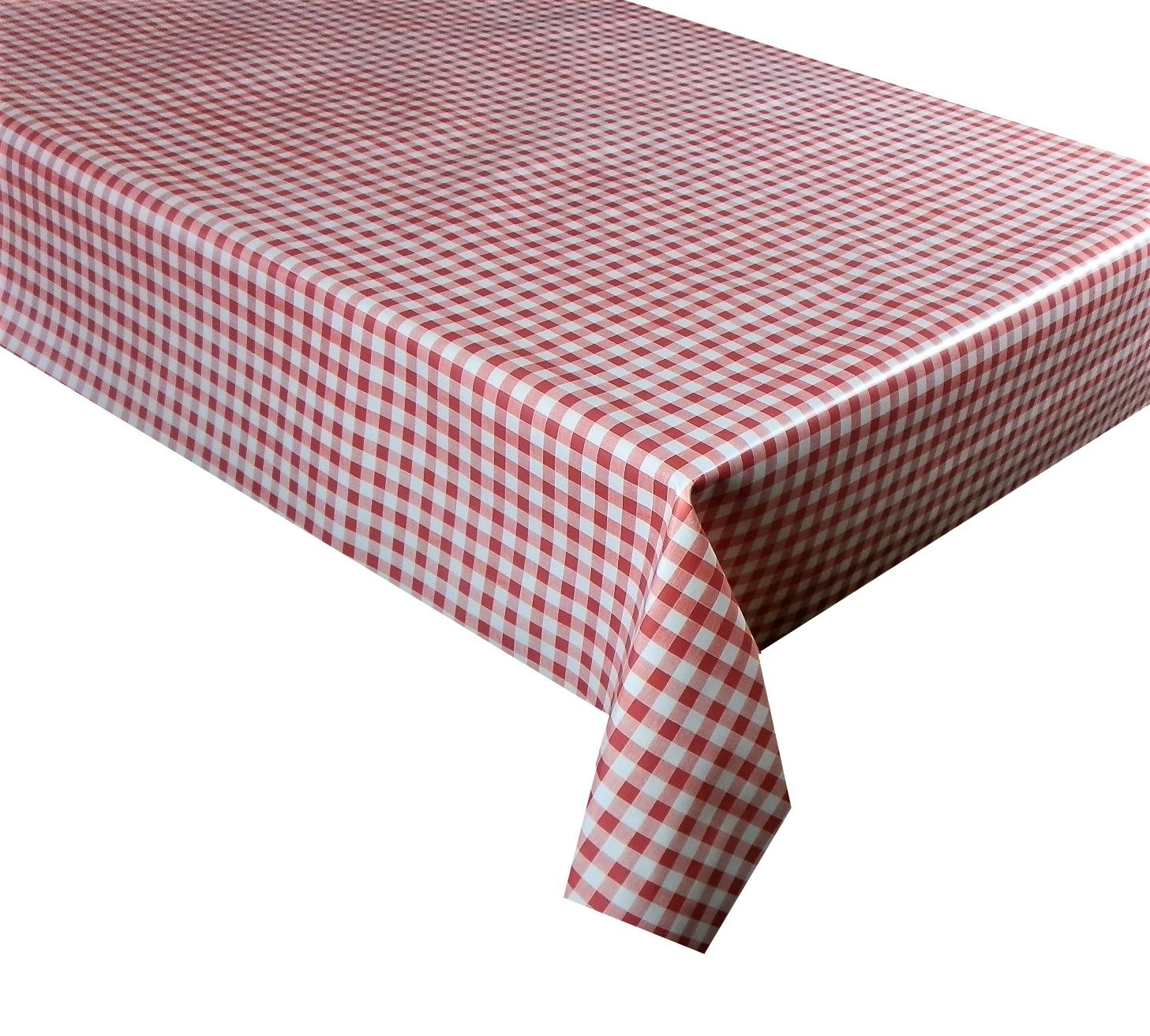 Red gingham check vinyl tablecloth