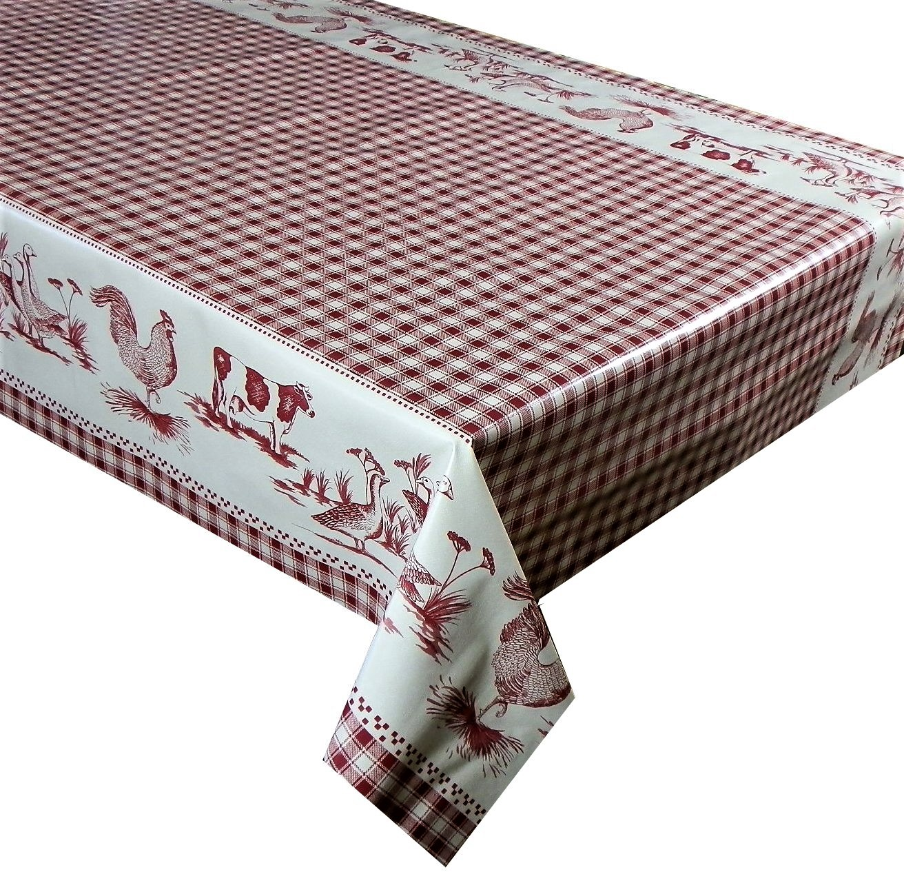 red check farm 79 vinyl tablecloth textile backed pvc coated sold in half metres 137cm 54. Black Bedroom Furniture Sets. Home Design Ideas
