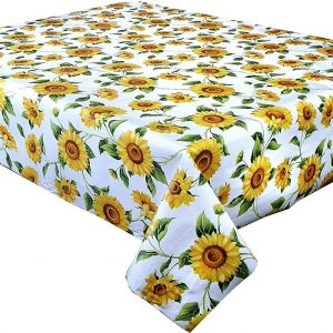 Yellow sunflowers vinyl tablecloth