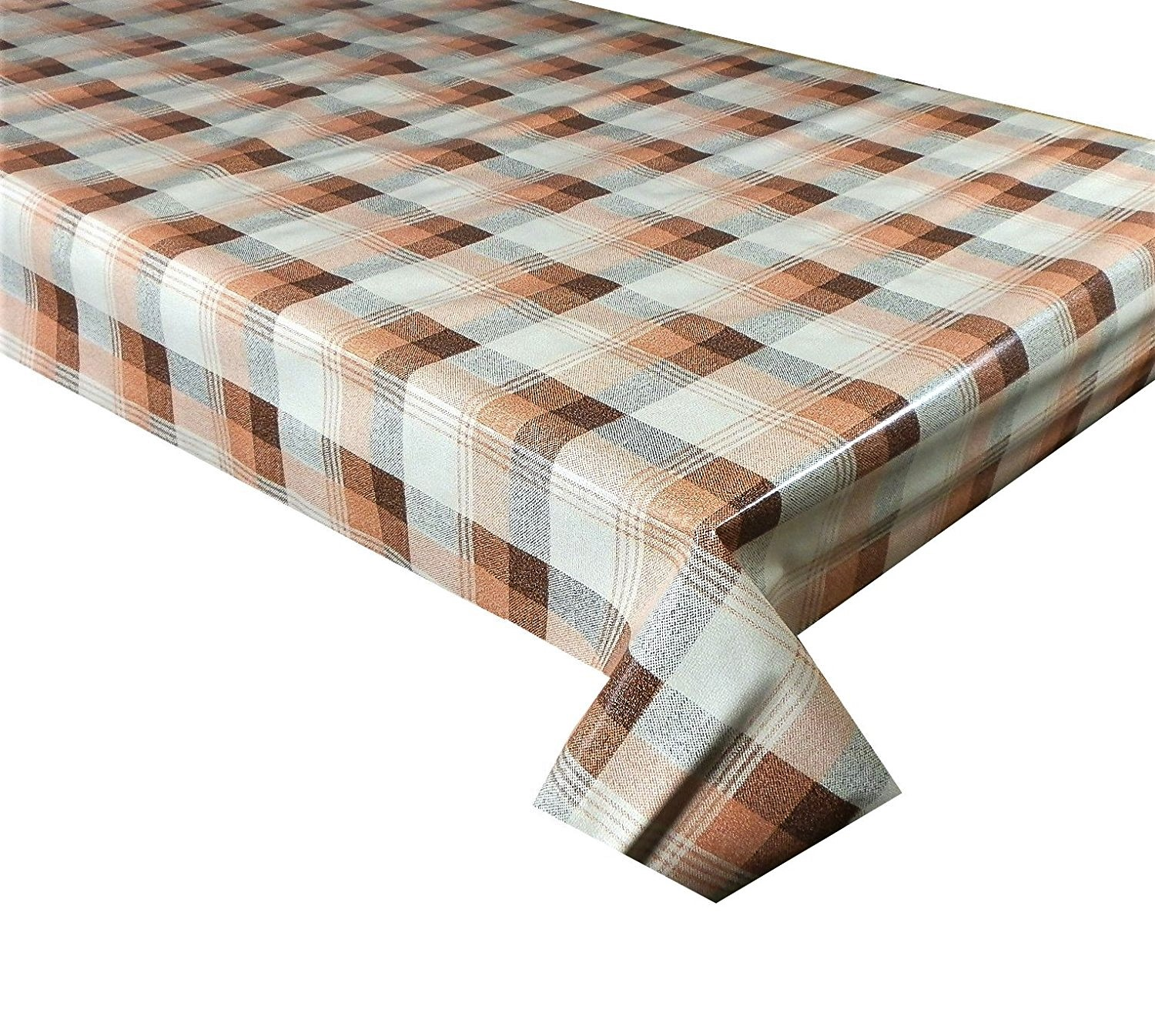brown and sand check 102 vinyl tablecloth textile. Black Bedroom Furniture Sets. Home Design Ideas