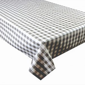 Brown gingham check vinyl tablecloth