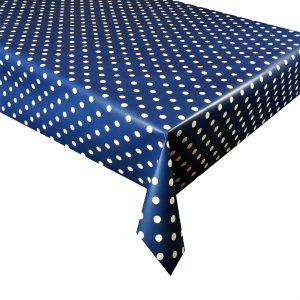 Dark blue polka dot vinyl tablecloth