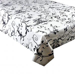Black floral vines vinyl tablecloth