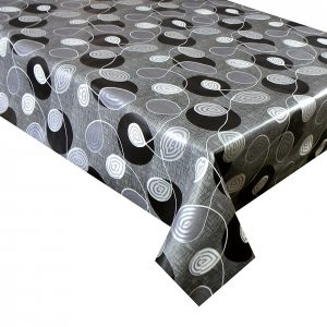 Black swirl vinyl tablecloth