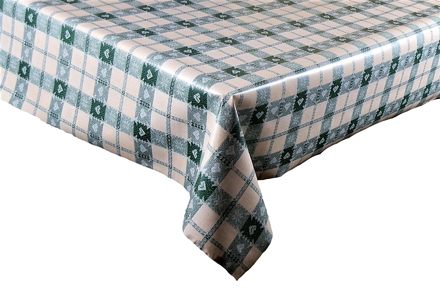 £3.00. Green Hearts Check Design On Cream Ground Wipe Clean Vinyl Tablecloth  ...