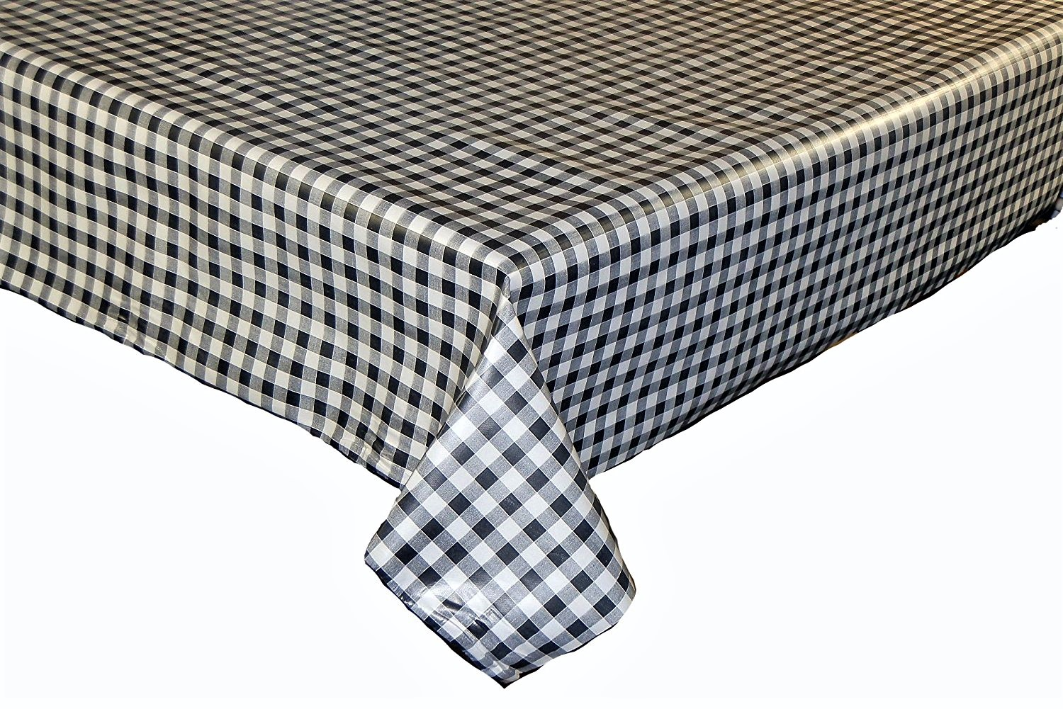 Charcoal gingham check vinyl tablecloth