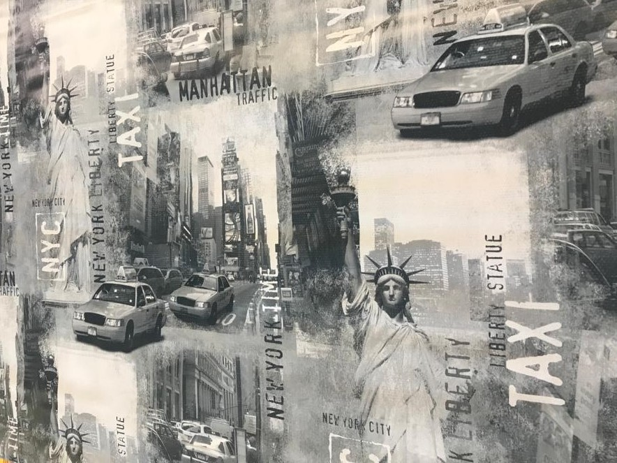 New York Vinyl Tablecloth With Street Cab Scene In Grey