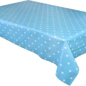 Duck egg polka dot vinyl tablecloth