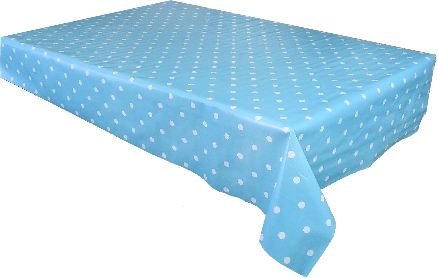 Duck Egg Polka Dot Vinyl Tablecloth Textile Backed Pvc