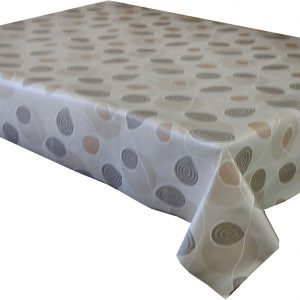 Beige swirl vinyl tablecloth